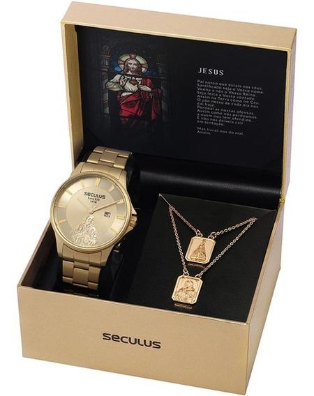 Kit Relógio Seculus Masculino Pai Nosso 28919gpskda1k2