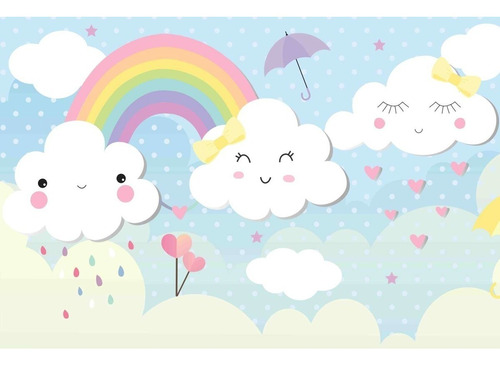 Painel De Festa Lona Chuva De Amor Arco Iris Cílios Nuvem