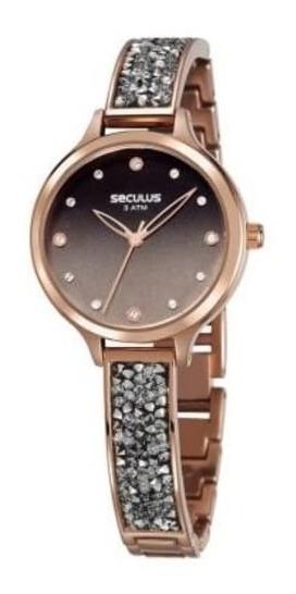 Relógio Seculus Feminino Glamour Pulseira Bracelete