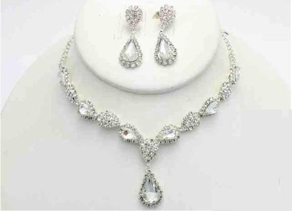 Collar Con Arete Gota Combinada Cafu445-02 A20