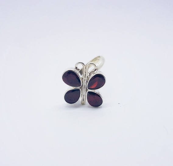 Anillo Ajustable Flor Mariposa Colores Cristales Plata 925