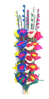 12 Flores Nardo Palma Hoja De Maiz Artesania Mexicana