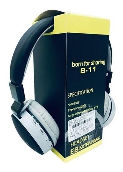 Headphone Sem Fio Bluetooth Com Entrada Cartão B11 Rádio