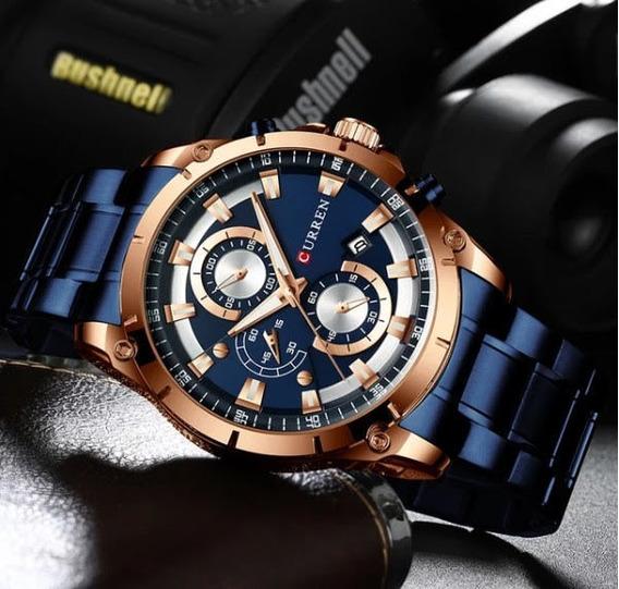 Relógio Masculino Cronógrafo Curren Azul Com Dourado