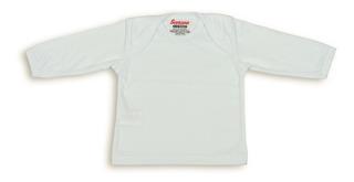 Camiseta Blanca Manga Larga Cuello Ojal Para Bebé