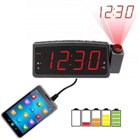 Rádio Relógio Digital Projetor Com Despertador Fm/usb