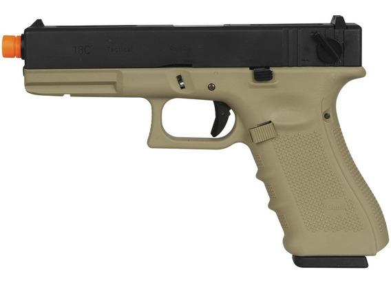 Pistola Airsoft Gás Gbb We G18b Gen4 Tan Blow Back Metal 6mm