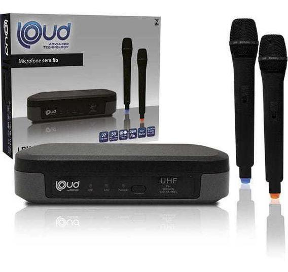 Microfone S/fio Ldu-801 Uhf Mao Duplo Preto Loud