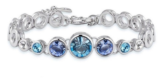 Pulsera Hecha Con Cristales Swarovski Azul-joyas Mujer
