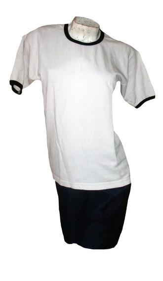Conjunto Remera Blanca Pantalon Corto Ideal Gimnasia Colegio