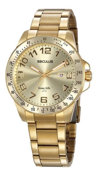 Relógio Masculino Seculus Dourado Long Life + Garantia + Nf
