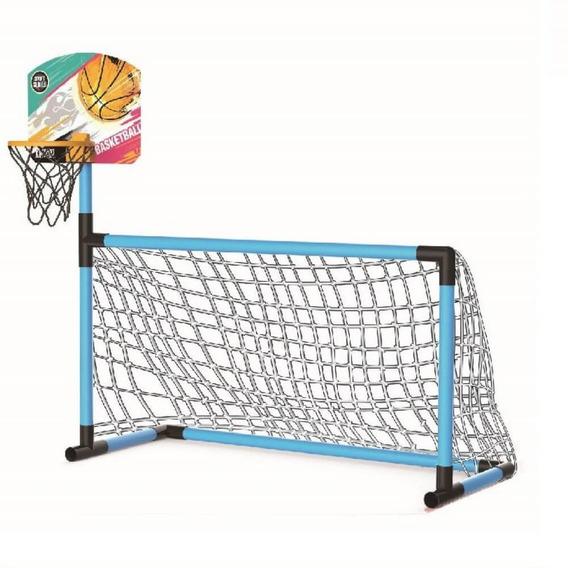 Trave De Futebol + Cesta Basquete Brinquedo Esporte 2 Em 1