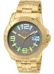 Relógio Dourado Imita Ouro Dia A Dia Masculino Chamativo