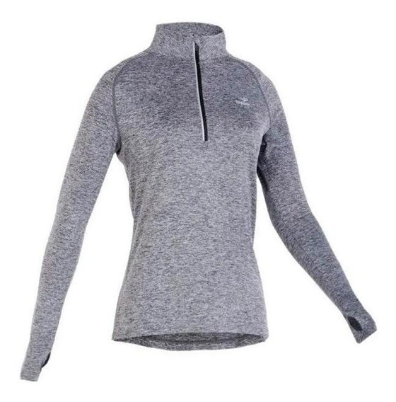 Buzo Running Topper Mid Layer Mujer Gris