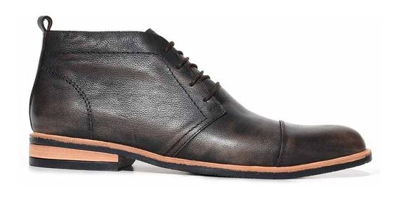 Bota Cuero Hombre Borcego Botita Negra Zapato Goma Hcbo00937