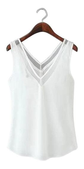 Camiseta Regata Feminina Decote Em V Sem Mangas Malha Patchw