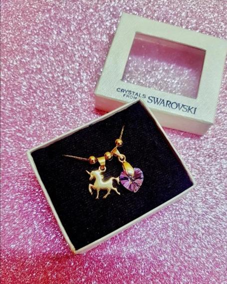 Unicornio En Baño De Oro Con Cristal Swarovski