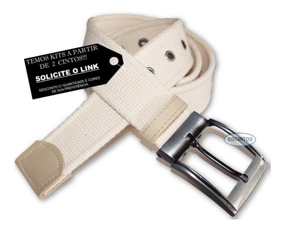 Cinto Lona Premium Masculino Fivela C/ Regulagem L46 Pt