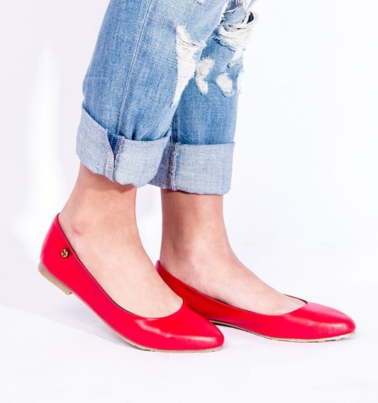 Zapatos Estilo Sandalia De Dama Comodas Ballerinas Red