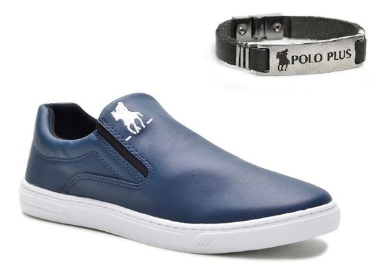 Slip On Tênis Masculino Polo Plus Original + Pulseira Couro