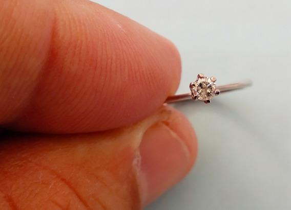 Anel Solitario Diamante Brilhante 8 Pontos Pp Prata Paladio