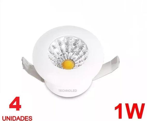 Kit 4 Spot Cob Mini Embutir 1w Redondo Branco Frio 6000k