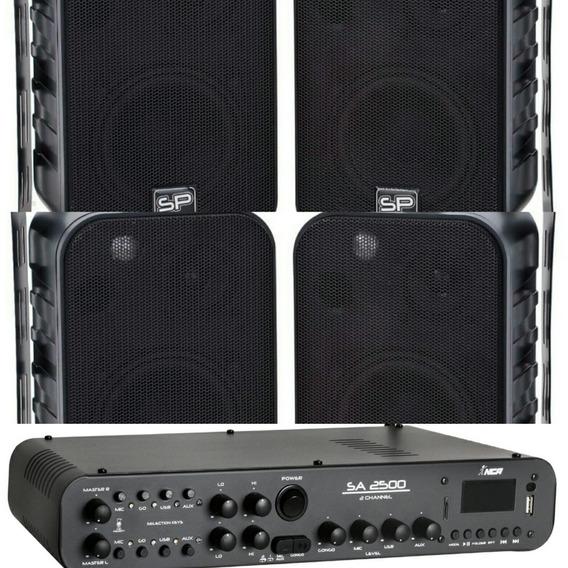 4 Caixa De Som Ambiente Sp400 + Amplificador 180w Sa2500