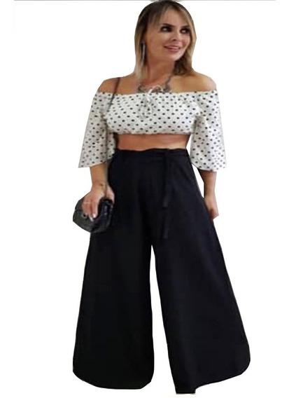 Calça Pantalona Boca Flare Cintura Elastico Calça Boca Larga