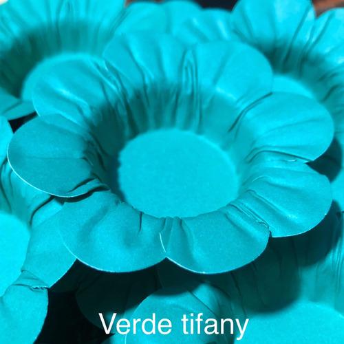 Imagem 1 de 10 de 100 Forminhas Para Doces Casamento Mod Flor Verde Tifany