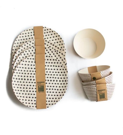 Set X4 De Fibra De Bamboo- Línea Eco Friendly Platos & Bowls