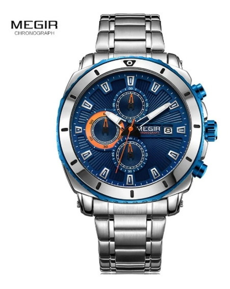 Relógio Megir 2075 Cronógrafo 30mts Inoxidável Original