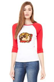 Playera 3/4 Pug Pizza, Raglan Roja.