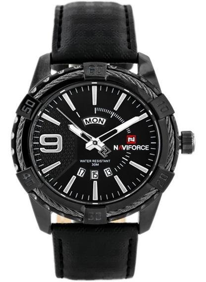 Relógio De Pulso Masculino Naviforce 9117 Couro Luxo Casual