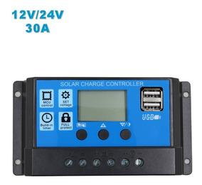 Controlador De Carga Solar 30a 12e24v Pwm Com Lcd