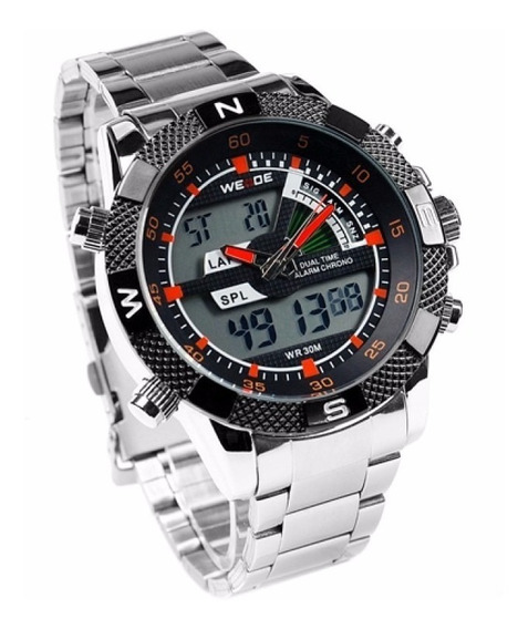 Relógio Masculino Weide Wh-1104-4 Anadigi Esporte Aço Laranj