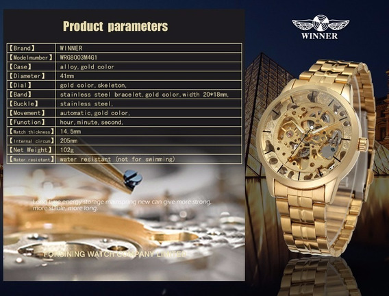Relógio Winner Automático Resistente A Água Dourado Skeleton