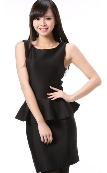Vestido Peplum Negro Talla M