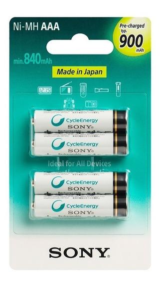 Pilha Recarregavel Sony Aaa 900 Mah Com 4 Unidades Original