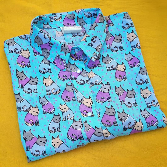 Camisa Cat Lover Kimono - Gatos Kawaii
