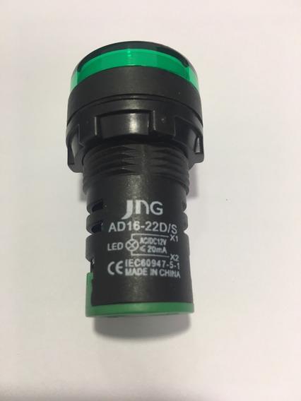 Botão Sinaleiro Led Ad16-22d/s Verde 12v Jng 05 Unidades