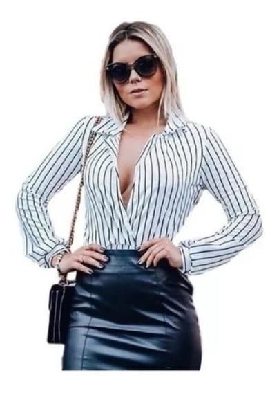 Body Bore Blazer Blusa Camisa Feminino Listrado Manga Longa