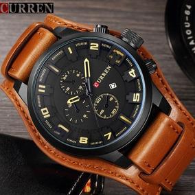 Relógio Luxo Masculino Pulseira Couro Curren