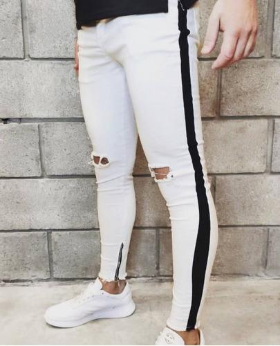 Jeans Pantalon Chupin Elastizado Hombre Gris Roturas Tobill