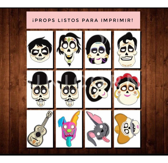 Caretas Mascaras Props Coco Kit Imprimible - Photo Booth