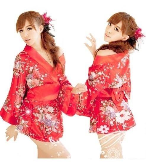Sakura Cosplay Yucata Kimono Vestido Mini Sexy Baby Dol Flor
