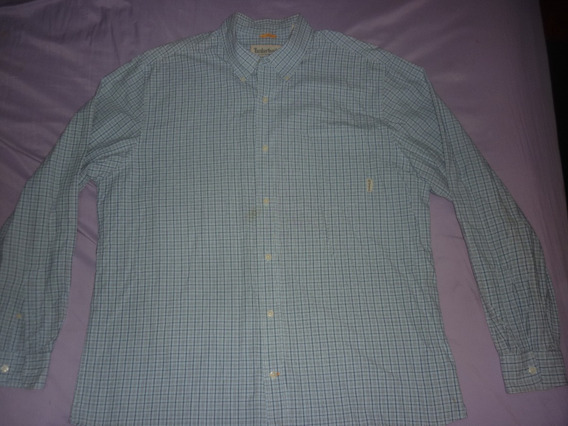 L Camisa Timberland Celeste Talle Xl Cuadrille Art 90463