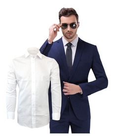 Terno Slim Masculino Oxford Pronta + Camisa Branca C/ Bolso
