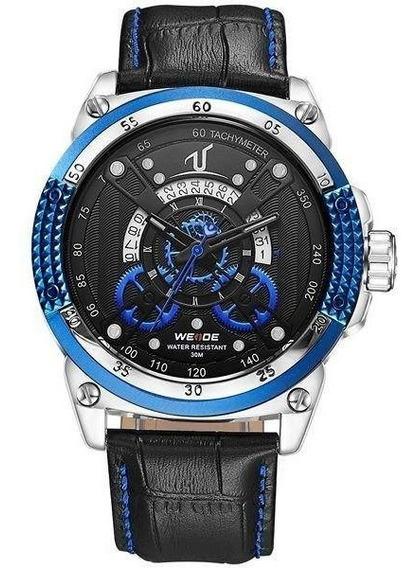 Relógio Masculino Weide Analógico Uv-1605 Azul Original