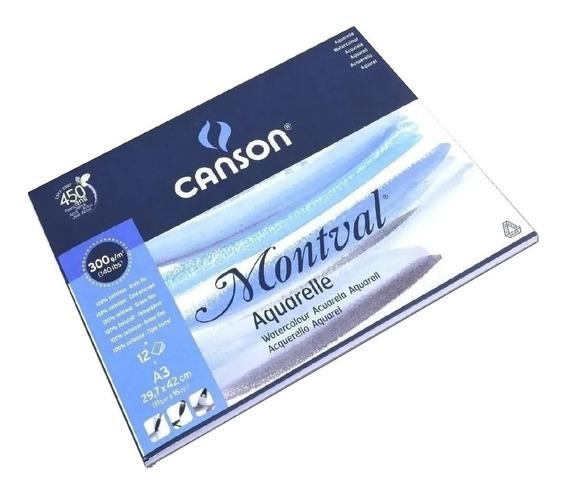 Block Canson Montval Fino 29.7x 42 300grs Acuarela