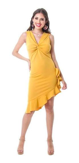 Vestido Dama Mostaza Devendi Con Ajuste En Escote Y Desnivel